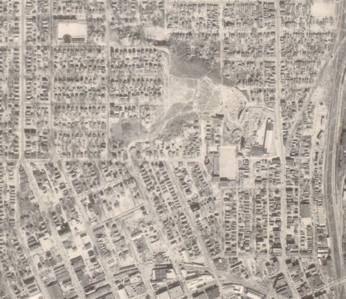Tulsa, north of downtown, aerial photo, 1951