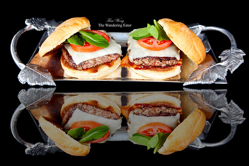 Silver tray of plated Michael White's White Label Hamburger from Pat LaFrieda