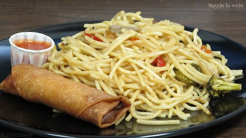 Veggie lo mein and egg roll by Coyoty