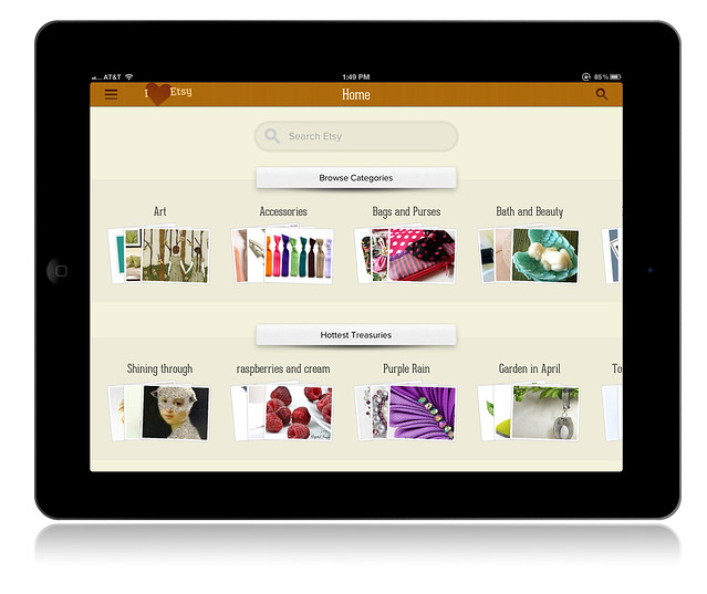 I Heart Etsy iPad App: Home