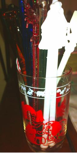 swanky swigs glass and swizzle sticks