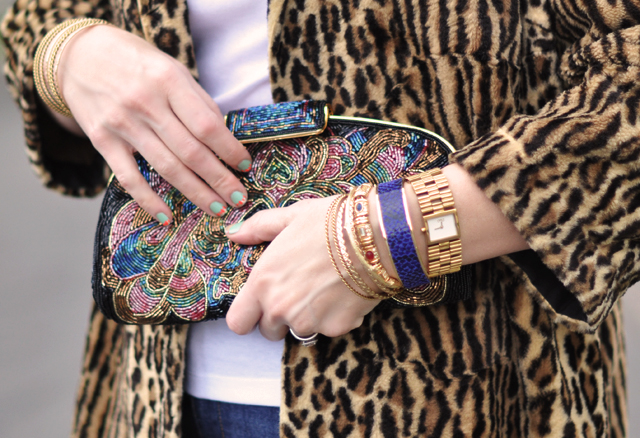 vintage beaded clutch bag and bracelets-leopard coat