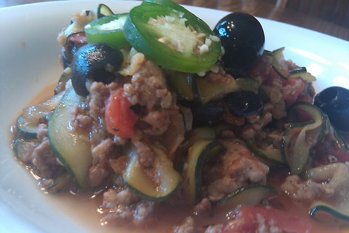 Paleo Goulash - topped with sliced Jalapeno peppers and black olives.  Yum! Yum!