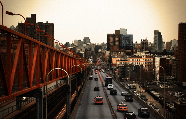 Delancey Street view from the Williamsburg Bridge