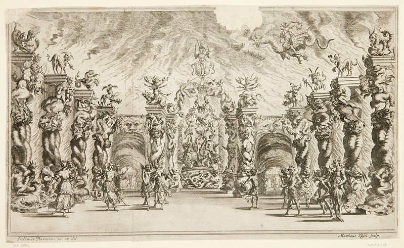 "Ludovico Ottavio Burnacini / Mathäus Küsel - Stage Design for the opera ""Il pomo d'oro ' (Underworld Scene) 1667"