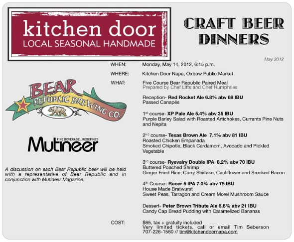 Bear Republic / Kitchen Door Beer Dinner