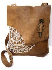 Boho Leather Messenger with Vintage Crochet Doily & Antique Key