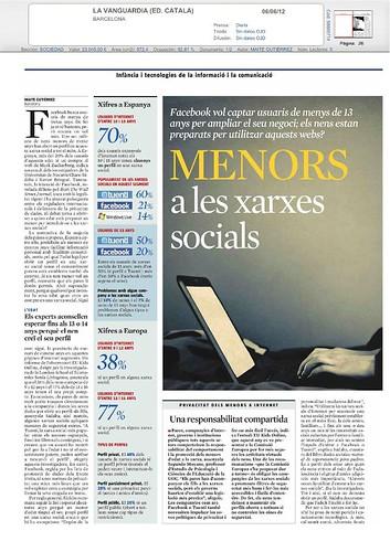 Menors i Xarxes Socials. LA Vanguardia. 9 de juny de 2012.