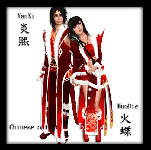 (Charming) Chinese Outfit - YanXi (M) and HuoDie(F)