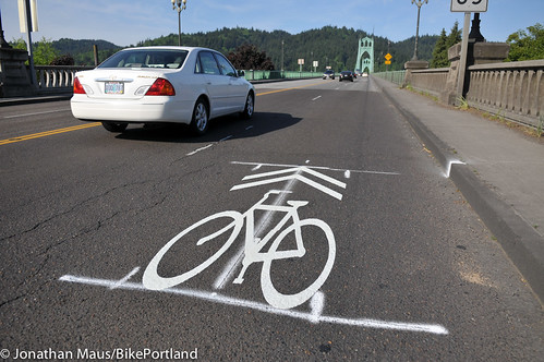 sharrows on St Johns Bridge-1
