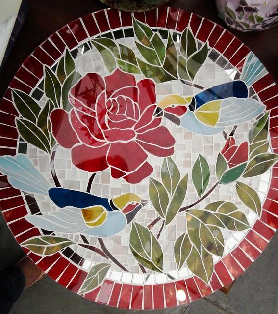 Tampo de mesa em mosaico de vidro pintado a m o 45cm for Mesas de mosaico