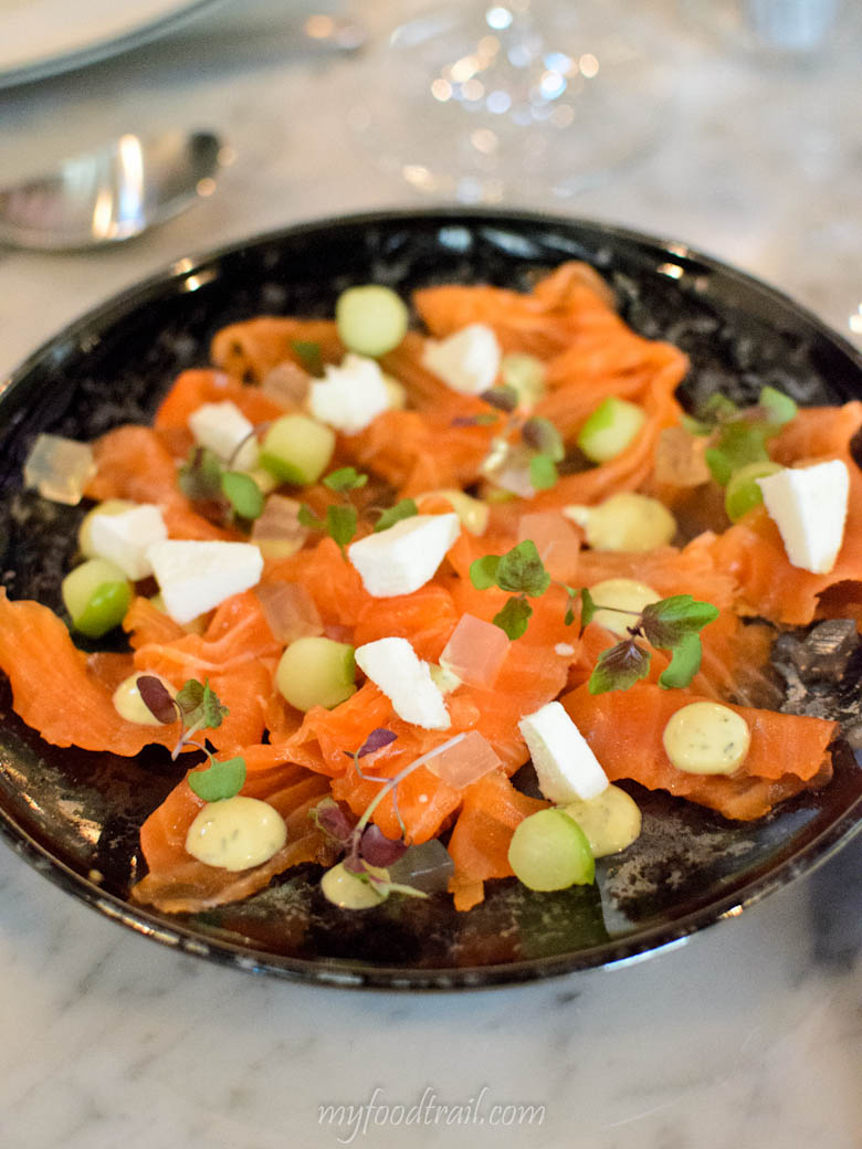 South Wharf - The Sharing House - Gravlax of ocean trout cured with apple vodka, textures of apple & creme fraiche