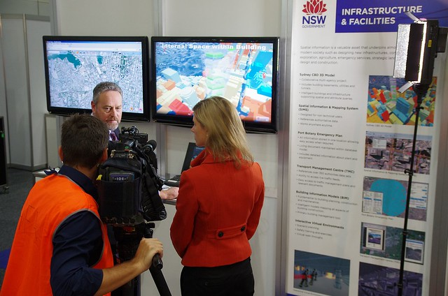 Channel 7 TV Journalist recording story about NSW Infrastructure & Facilities 3D Model of Sydney