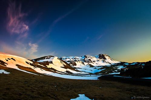 sunset snow mountains iceland spring vor hengill nightfall snjór kvöld fjöll sólsetur nesjavallaleið hphson