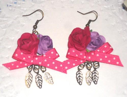 Brincos rosas roxo e rosa by Fuxiquices-da-isa
