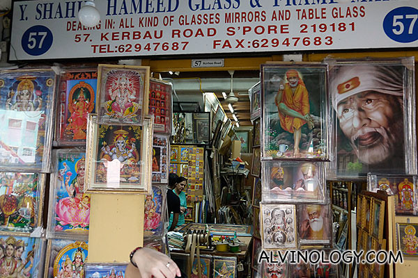 A shop selling images of Hindi Gods and Goddesses