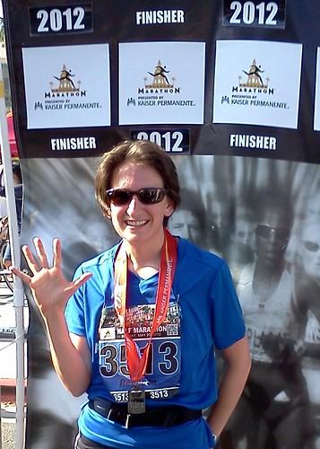 Rebecca at end of Pasadena Half Marathon