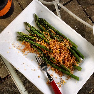 #Asparagus with #brioche bread crumbs
