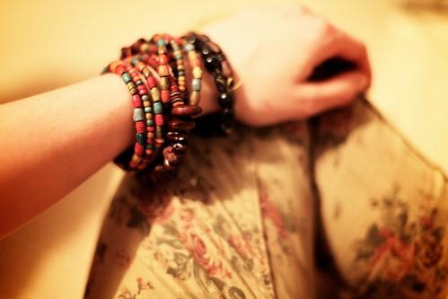 30.05.12 :: Floral Print Skinny Jeans & my Walton Rose Gold Metallic Bleach Wood Wedges.