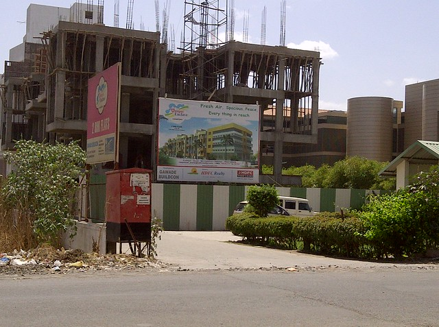 Under construction site of Gawade Buildcon's Unique Enclave - 2 BHK Flats next to Sulzon One Earth Campus at Sade-Satara-Nali Gram Panchayat, Hadapsar, Pune 411028 - marketed by HDFC Realty