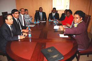 Republic of Zimbabwe Vice President Joice Mujuru meeting with a delegation of visiting Indian businessmen in Harare. Zimbabwe has been enhancing its economic relations with Asian states. by Pan-African News Wire File Photos