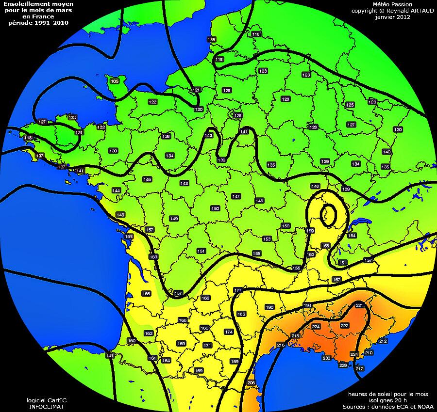 ensoleillement moyen pour le mois de mars en France période 1991-2010 Reynald ARTAUD météopassion