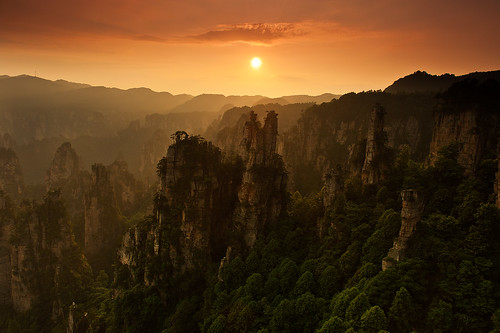 china sunset hunan zhangjiajie