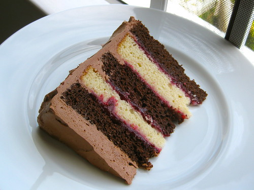 My Slice (Chocolate-Vanilla Layer Cake with Raspberry Filling and Chocolate Mousse Buttercream)