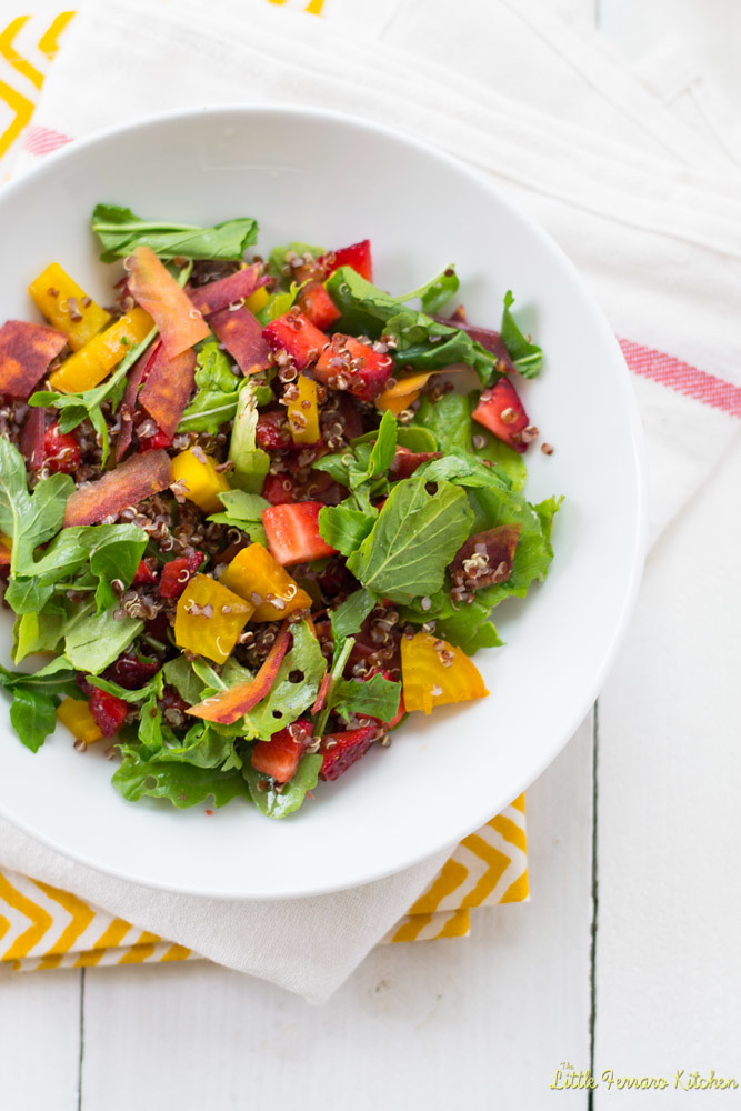 Rainbow Quinoa Salad with Honey Citrus Vinaigrette via LittleFerraroKitchen.com