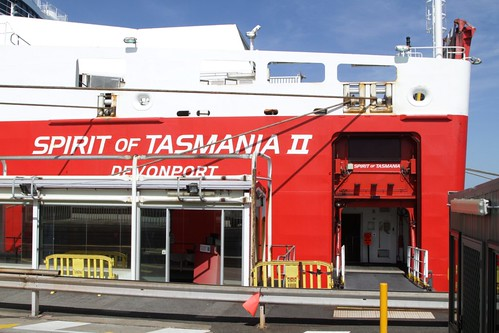 Passenger entrance to the Spirit of Tasmania II - right at the stern!