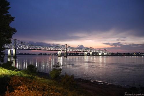 bridge sunset río river mississippi puente la twilight louisiana rivière ms natchez pont crépuscule vidalia fleuve riu crepúsculo louisiane crepuscle natchezms vidaliala