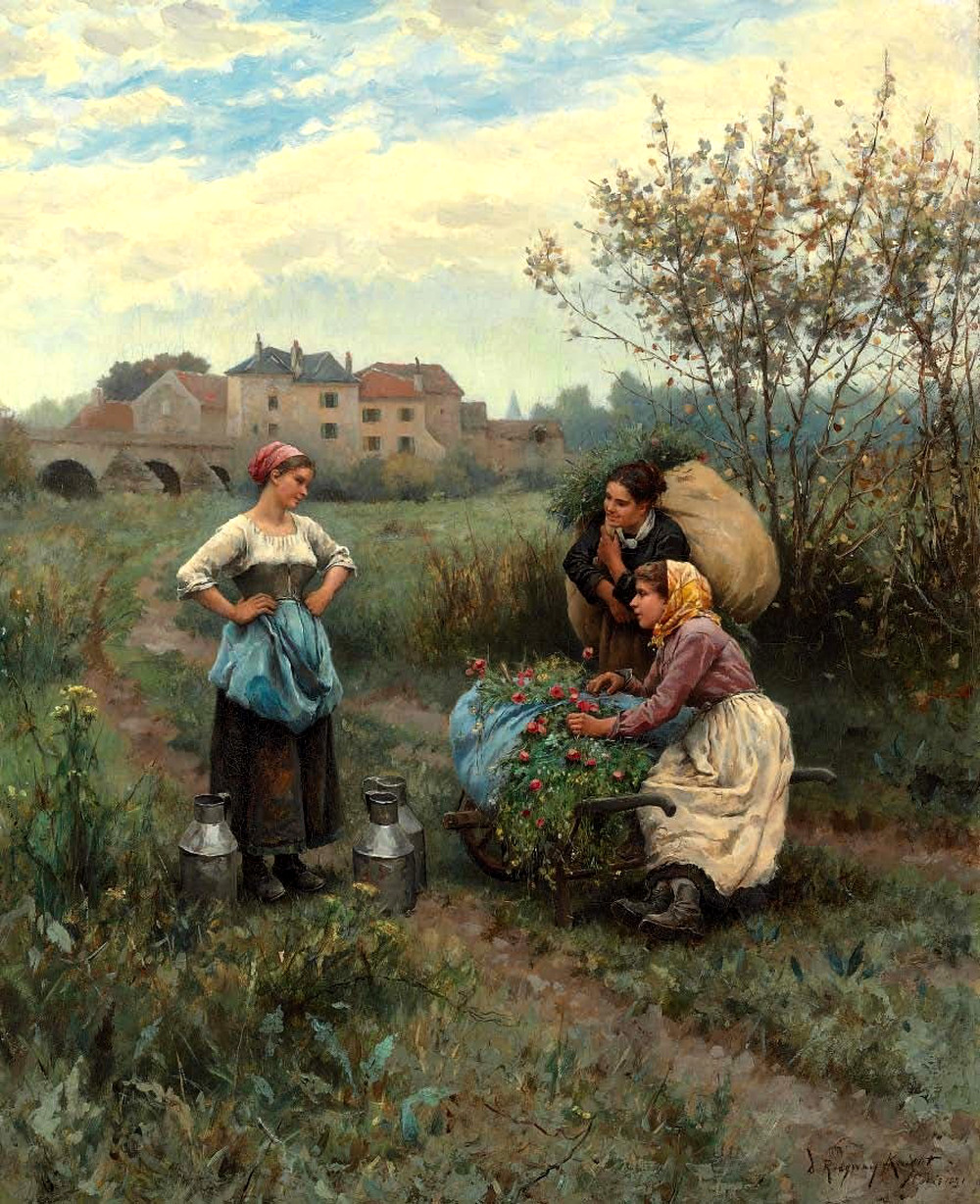 Three Women in a Landscape by Daniel Ridgway Knight, 1881