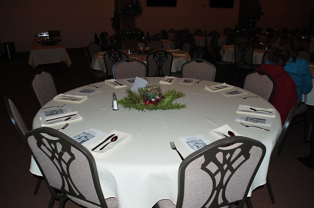 Formal Tables set with Table Cloths & China