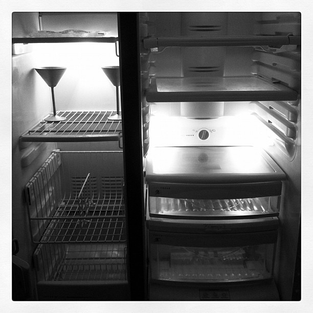 One positive of the fridge dying is that it's now spotless.