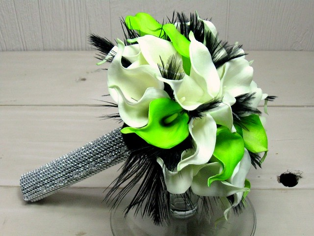 Lime Green Bridal Flowers : Lime green white calla lily with black feathers faux