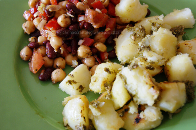 Cold bean salad + refried potatoes tossed with pesto