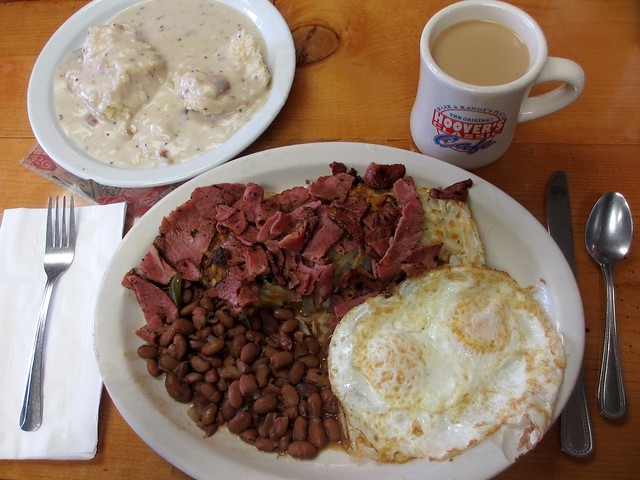 Hoover's corned beef hash and biscuit with gravy