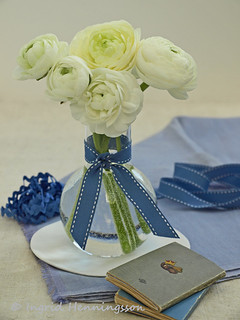 White Ranunculus and Slate Blue