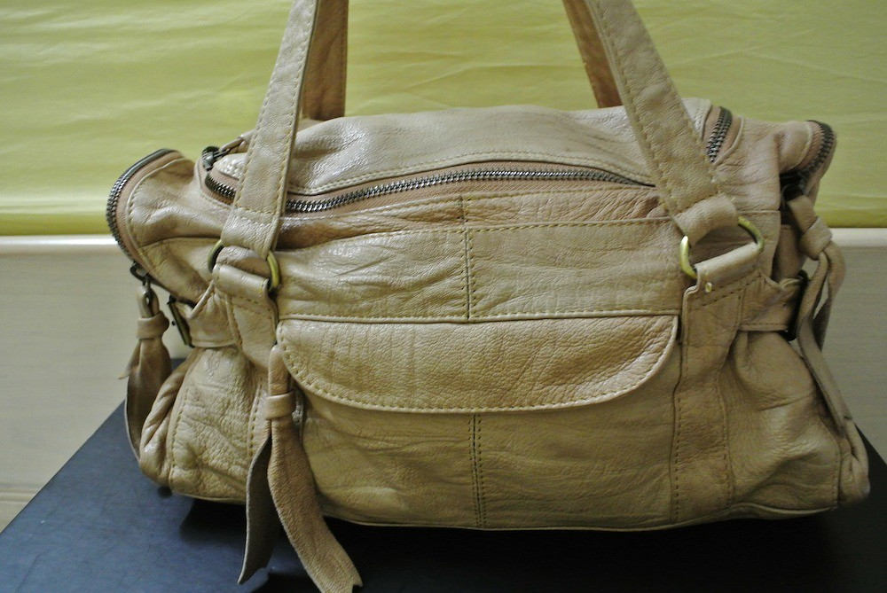 washable leather top shop bag in nude