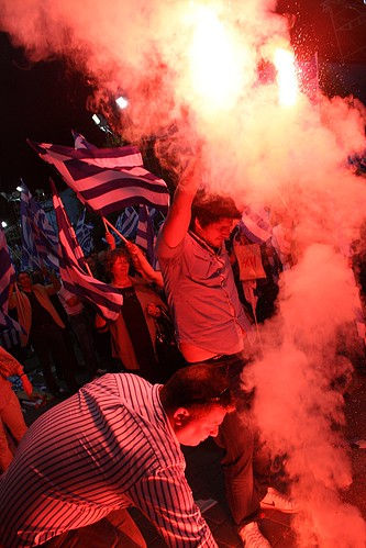Samaras supporters light up flares during New democracy rally - Thessaloniki, Greece