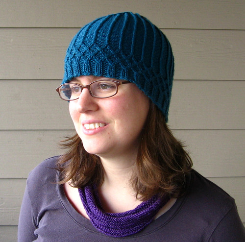 teal hat and cowl