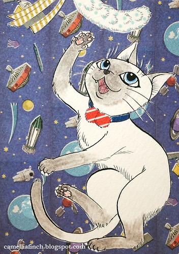 難得畫貓畫得比較順手... 背景意外地變成宇宙了!! :D