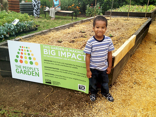 Bronson in the People's Garden at USDA Headquarters in Washington, DC. On the opening day of the USDA Farmers Market on June 1, 2012, kids had the opportunity to participate in  a day filled with hands-on activities to help enhance their commitment to healthy eating and 60 minutes of physical activity every day.
