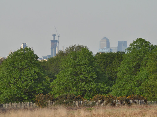 St George Tower u/c and Canary Wharf from Richmond Park