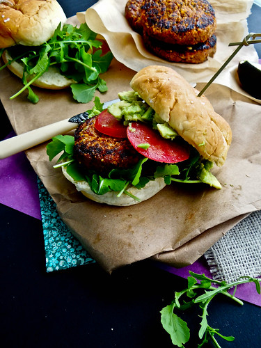maple chipotle sweet potato burger