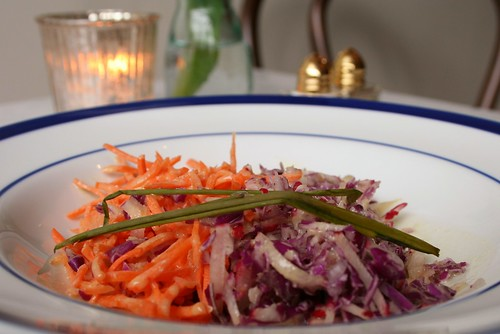 Simple, Elegant, FANTASTIC cabbage-carrot salad at Le Salbuen