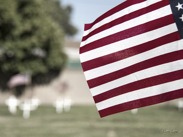 Downey Cemetery flags for Memorial Day