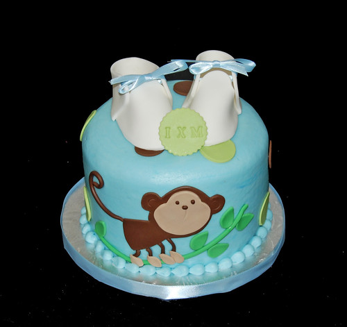 monkey cupcake tower in blue, green and brown