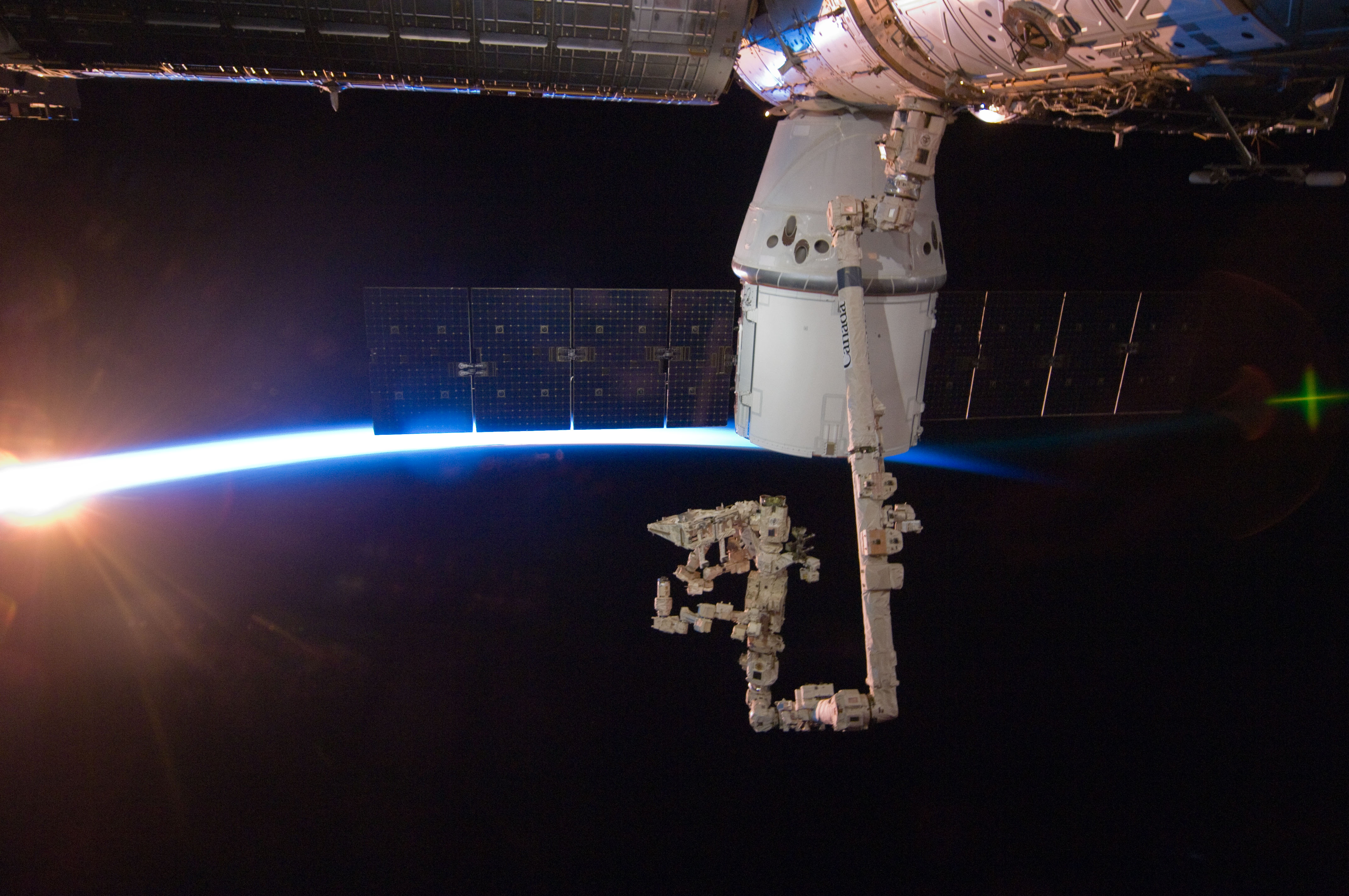 SpaceX Dragon Berths at the International Space Station (N ...