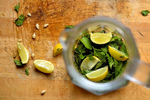 mint and lemon for virgin mojito